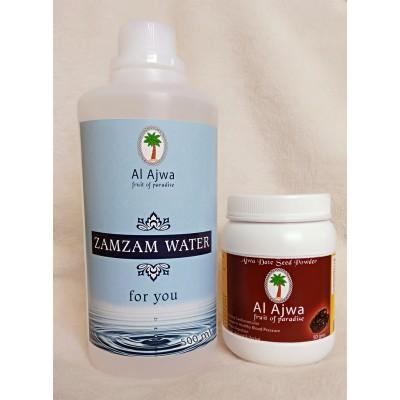 ZamZam Water &  Ajwa Seed Powder Combo Pack